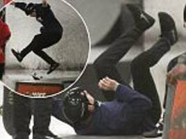 brooklyn beckham takes a tumble as he shows off his skateboarding skills in london