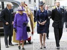 proud in purple! the queen joins prince phillip at westminster abbey to celebrate the 60th anniversary of the duke of edinburgh's award