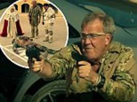 clarkson firing hundreds of bullets, hammond's knife fight with a terrorist and the queen taken hostage: episode two of the grand tour takes on sensitive politics of the middle east
