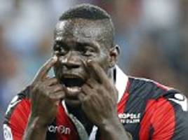 mario balotelli faces a spell on the sidelines after the nice striker suffers an injury during shooting practice