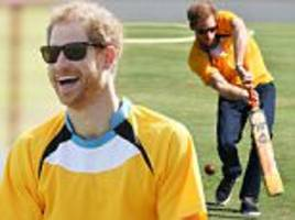 prince harry takes part in a cricket match in st lucia