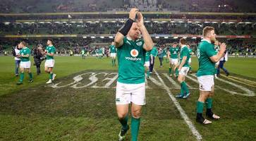 ireland 27 - 24 australia: rory best celebrates australia win in 100th test appearance