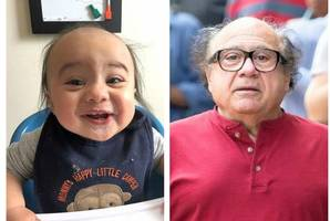 twins: meet the baby who is the spitting of american actor danny devito