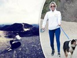 kate hudson hikes in la with son bingham and dog cody after indulging over thanksgiving