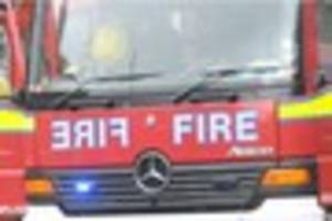 Firefighters have tackled a blaze 'caused by power tool sparks'...