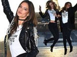 Alessandra Ambrosio and the Victoria's Secret Angels enjoy photoshoot at the Eiffel Tower