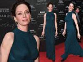 uma thurman oozes opulence as she steals the show at pirelli calendar gala dinner
