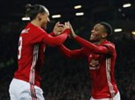 manchester united 4-1 west ham: anthony martial and zlatan ibrahimovic send reds into efl cup semi-finals as jose mourinho serves touchline ban
