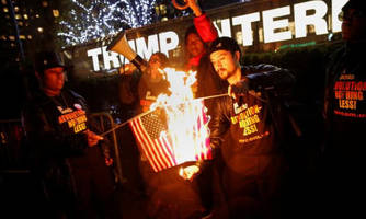'Communist Party' Protesters Burn American Flags In New York After Trump Tweet