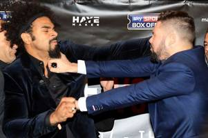David Haye vs Tony Bellew press conference turns ugly as rivals come to blows ahead of March grudge fight