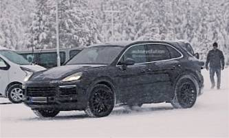 2018 Porsche Cayenne Spied Playing In The Snow