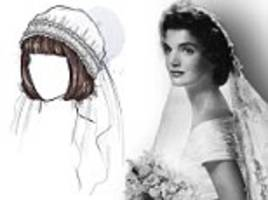 from jacqueline kennedy's 1950s pin curls to kate middleton's modern royal 'do, stunning illustrations chart the most popular bridal hair trends from the last 100 years
