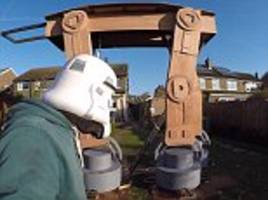 Colin Furze builds Star Wars AT-AT walker and it's taller than his house