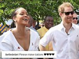 fans call for prince harry to date pop star rihanna after pair meet in barbados