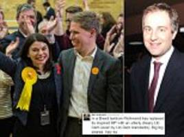 Sore loser? Ben Goldsmith attacks the Lib Dem who ended his brother Zac's career with sensational by-election win as 'drab' and 'dreary' in a bizarre Twitter rant