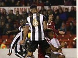 nottingham forest 2-1 newcastle: jonjo shelvey and paul dummett sent off as jamaal lascelles's late own goal sinks magpies