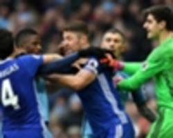 aguero horror tackle on luiz sparks ugly scenes at end of man city-chelsea clash