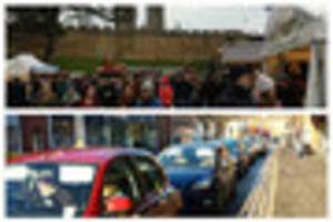 heavy traffic and queues to park in lincoln as christmas market...