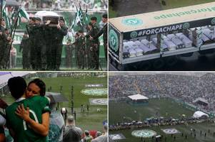100,000 turn out to see coffins of football team killed in plane crash carried to stadium for memorial service