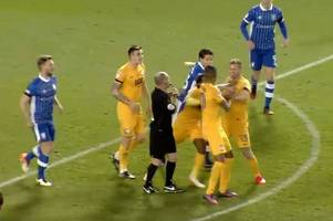 former cardiff city striker scores goal, fights team mate and gets sent off... all in 10 minutes
