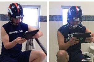 Trevor Siemian copied Peyton Manning's famous helmet-wearing ice bath treatment