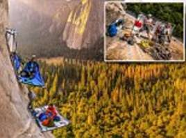 A REAL cliff hanger! Extreme campers pitch climbing tents more than 5,000ft high on El Capitan's vertical rock face in Yosemite