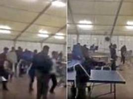 rival gangs of migrants throw chairs at each other and arm themselves with smashed furniture during battle at dutch asylum centre