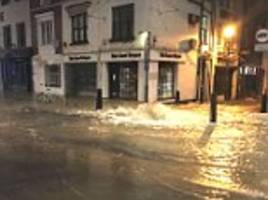 Flood water deluges the streets around Boris Johnson's north London home after a water main burst causing dozens of residents to be evacuated