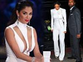 it's a cover up! nicole scherzinger goes from dramatic cleavage flashing outfit to pristine white jumpsuit after emotional x factor semi-final