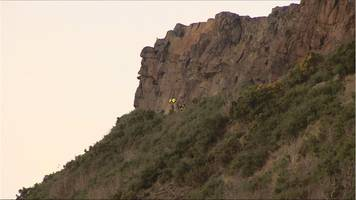 teenager suffers back injury in fall from salisbury crags
