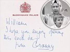 rare note from the queen to prince william goes up for auction