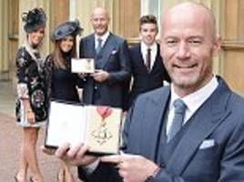 alan shearer 'proud' to be made a cbe as england legend is honoured for charity work