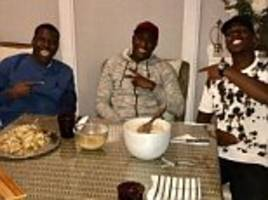 Paul Pogba enjoys feast of chicken as Manchester United star shares meal with France team-mate Kurt Zouma