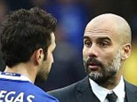 pep guardiola insists he didn't see cesc fabregas after appearing to ignore former player following chelsea defeat