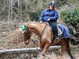 rider, 22, is banned from keeping horses after facebook users spot pictures of her online riding a skeletal ex-racehorse