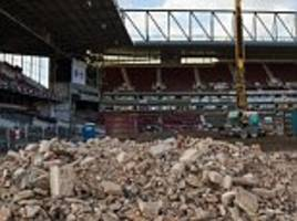 upton park demolition continues as a stand at west ham's old ground is reduced to rubble ahead of housing development