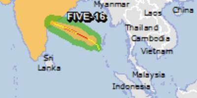 Orange alert for tropical cyclone FIVE-16. Population affected by Category 1 (120 km/h) wind speeds or higher is 0.