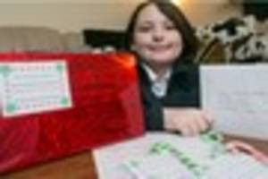 Kind schoolgirl turns down an advent calendar and decides to do...