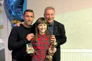 Footballing heroes surprise East Kilbride youngster with achievement award