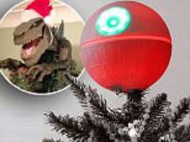 Creative Christmas tree decorations feature King Kong, Godzilla and Nicholas Cage