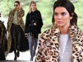 Kendall Jenner turns heads in leopard print coat on outing with BFF Hailey Baldwin