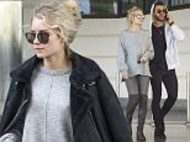 lottie moss and alex mytton coordinate in grey ensembles in barbados