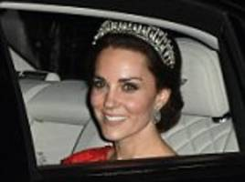 kate dons diana's favourite tiara: duchess wears cambridge lover's knot made by royal jewellers garrard in 1914 for queen mary
