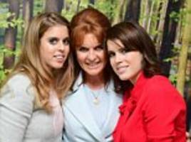 Where's your ring Eugenie? Princess steps out without her rumoured engagement band as she joins sister Beatrice and mother Sarah Ferguson at the Teenage Cancer Trust