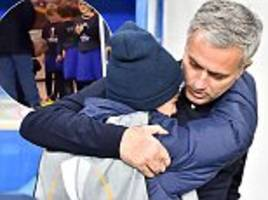 Jose Mourinho signs Europa League mascots' boots in tunnel before Manchester United's win over Zorya