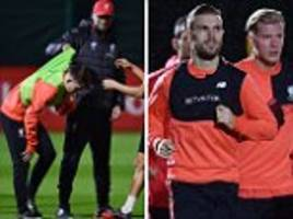 liverpool manager jurgen klopp pulls ben woodburn up as reds train ahead of west ham clash