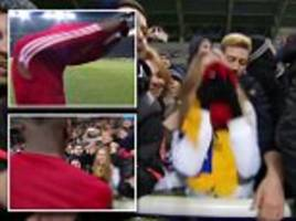 manchester united star paul pogba gives his shirt to a fan causing her to weep with joy after zorya victory