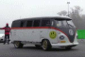 porsche-powered volkswagen bus 'race taxi' hits the track
