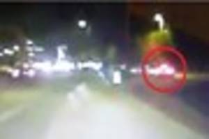 watch as erratic driver is caught on dash-cam going wrong way...