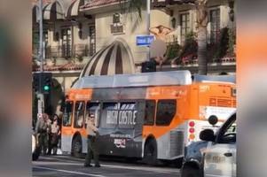 naked man scales bus and struts on roof while blowing kisses at police